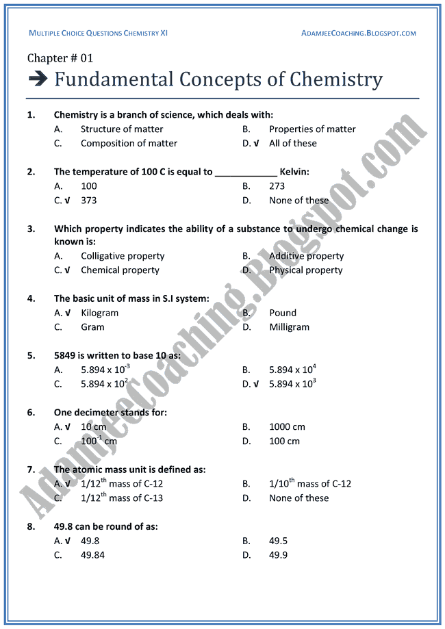 XI Chemistry MCQs - Fundamental Concepts of Chemistry