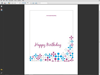 Printable birthday card opened in Adobe Reader
