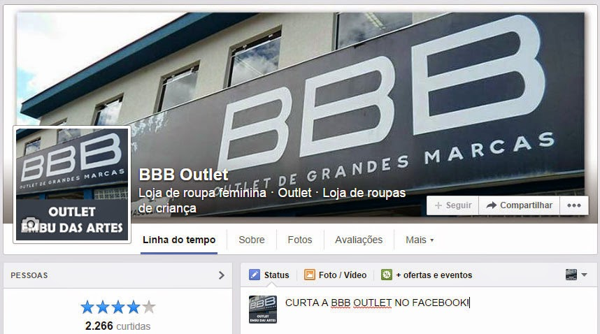 A página da BBB Outlet no Facebook