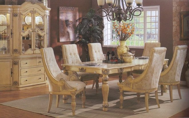 Antique furniture dining room set white luxury classic for Vintage dining room decorating ideas