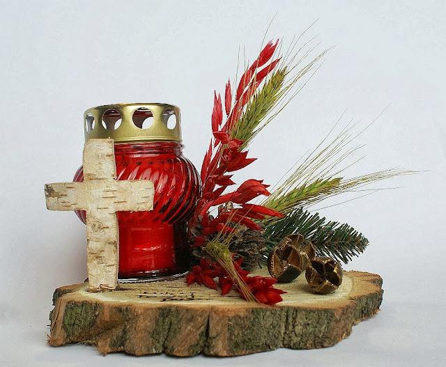 stroik na grób cmentarz rękodzieło Wszystkich Świętych znicz dekoracja