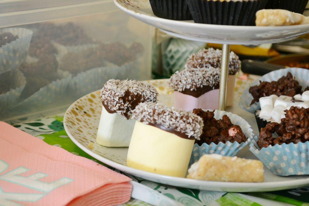 marshmallows chocolate crispies cake stand