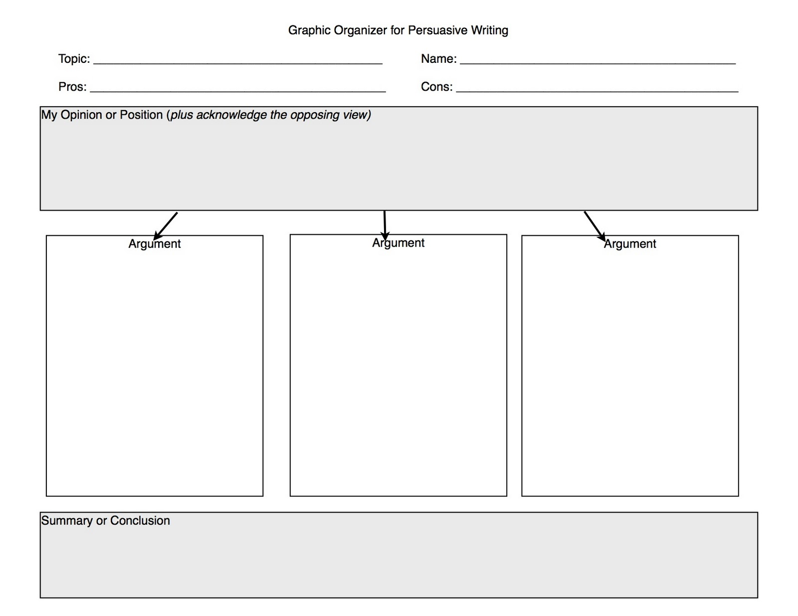 graphic organizer for argumentative essay