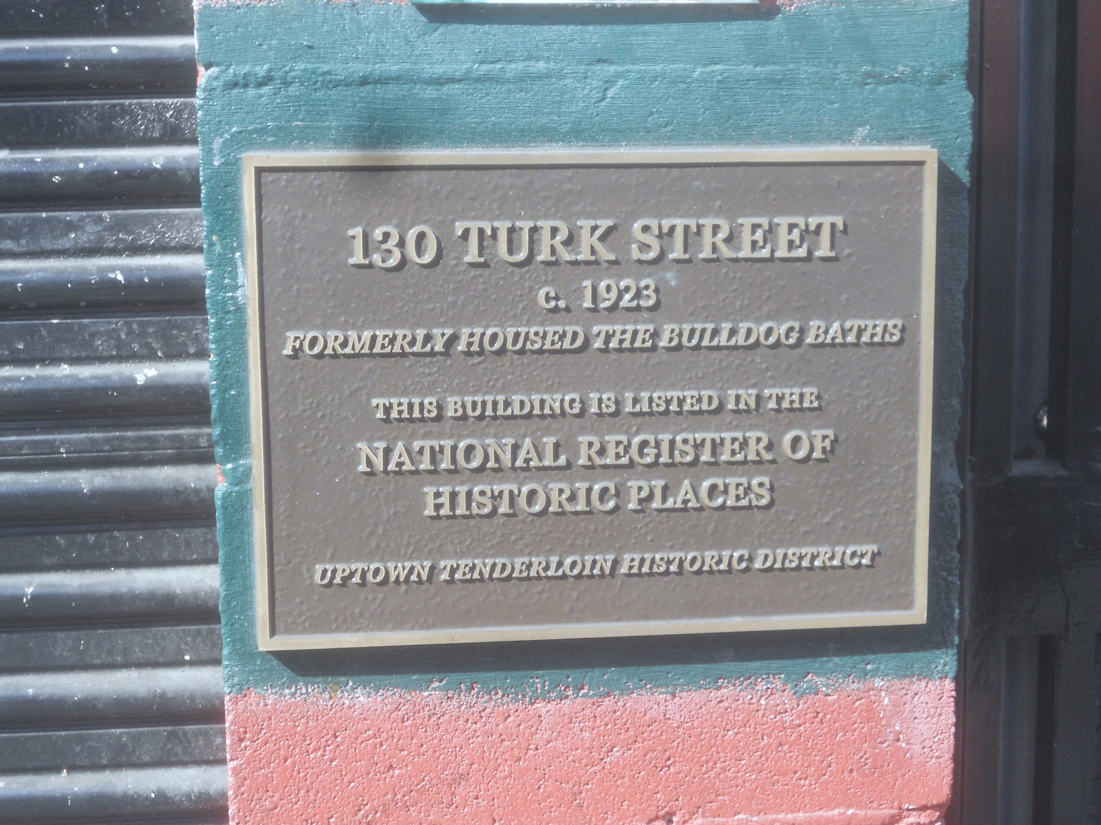 SF Gay Baths Plaque; National Register of Historic Places