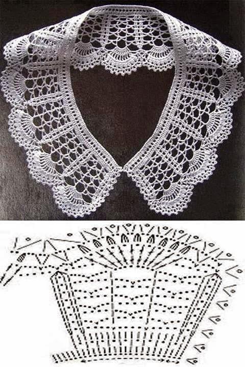 Diagramas ganchillo de cuello