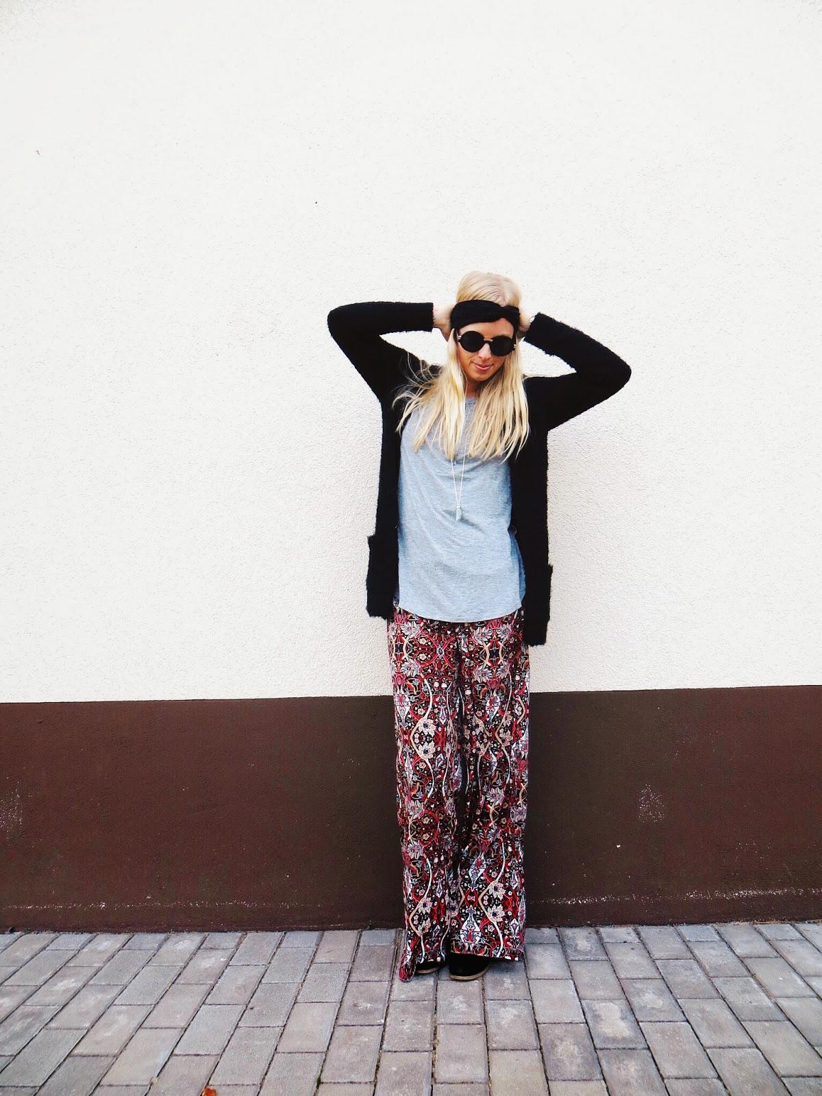 debshops black cardigan, debshops paisley print palazzo pants, freyrs sunglasses, lazuli handcrafted dipped beryl necklace, simply charmed 21 wire wrapped rings, boho outfit, hippie outfit, bohemian outfit