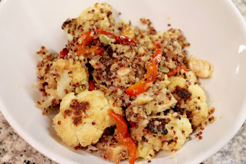 Spicy Roasted Cauliflower and Chicken Quinoa Bowl with Onion-Apple Puree