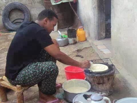 Somali guy cooking