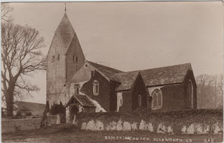 Vintage postcard of Sompting Church, Sussex, c.1917