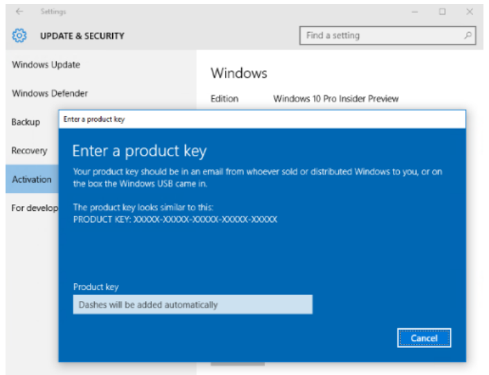 Windows 10 pc build 10565 improves device activation blogmytuts or windows 81 device wherein the product key is provisioned into the device firmware by the oem during manufacturing windows 10 insider preview build ccuart Gallery