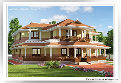 Traditional Kerala home design idea for 5 bedroom house elevation from