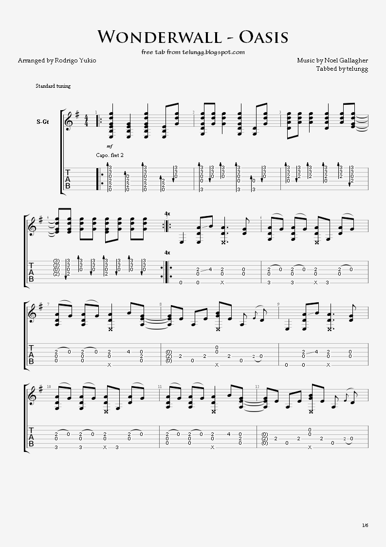 Fingerstyle Guitar Tabs - Wonderwall (Oasis) - X-Ray Machines Blog Articles