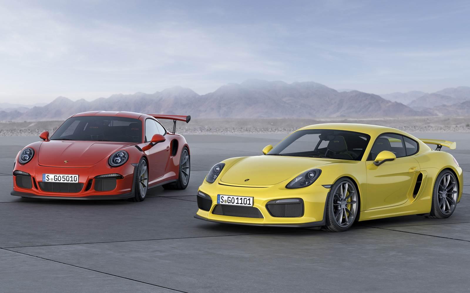 Porsche Cayman GT4 (amarelo) e Porsche 911 GT3 RS (vermelho