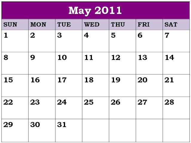 blank calendar 2011 may. Blank Calendar 2011 May or