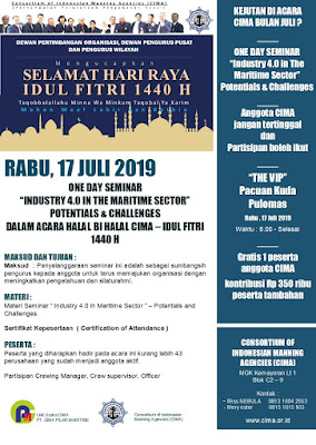 "Undangan HBH 17 Juli 2019 dan Oneday Seminar ""Industry 4.0 in The Maritime Sector """