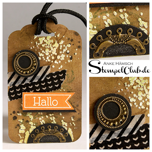 Mixed media, Tags, Stampin up, scrapbooking, Timeless Textures, Tag Topper Punch, Steampunk