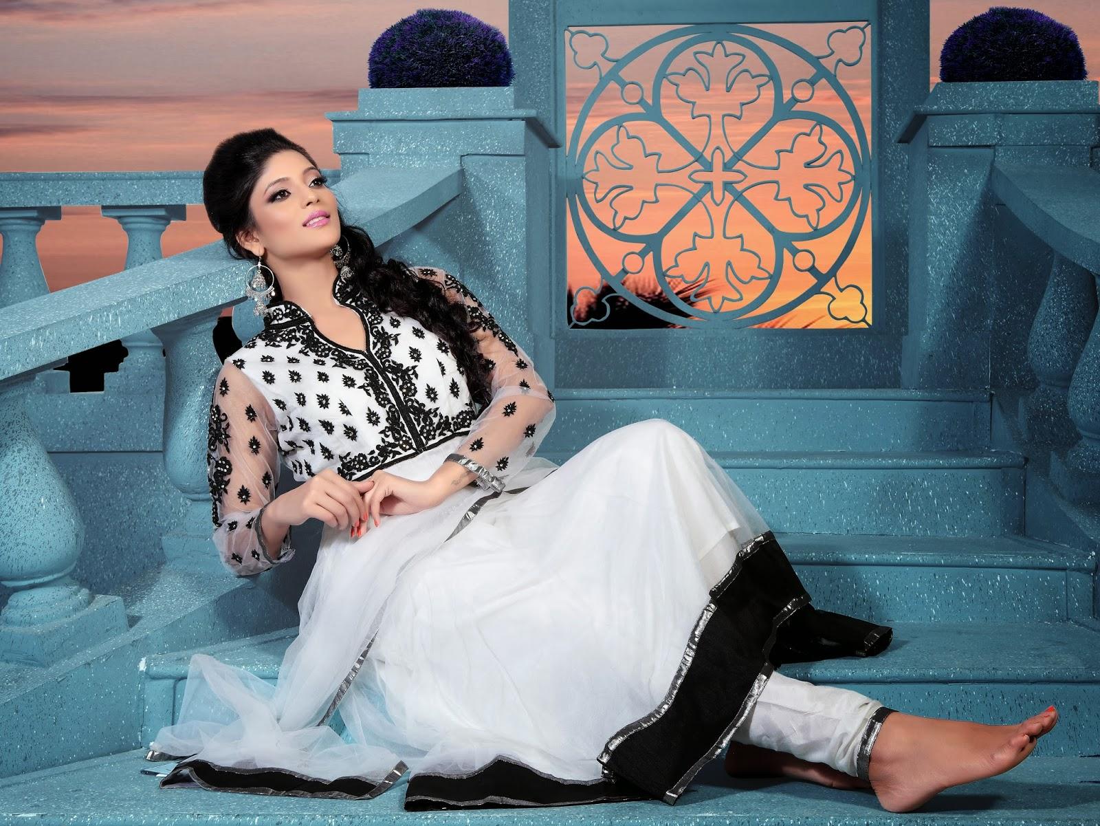 Stylish white dress wedding umbrella frocks churidar designs - Latest Collection Anarkali Designer Suits By Fashion1world
