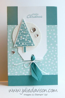 Stampin' Up! Festival of Trees Diorama Card (outside) -- check site for tutorial #stampinup www.juliedavison.com