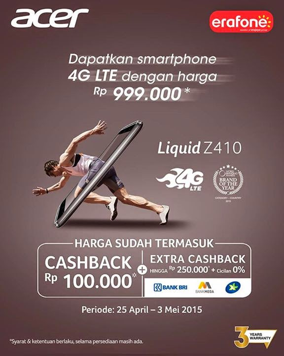 Acer Liquid Z410 LTE Smartphone Murah Rp 999 ribu Promo Hingga 3 Mei 2015