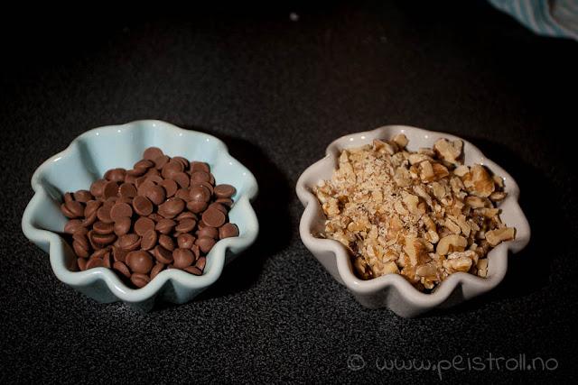 Chocolate chip og valnøtter