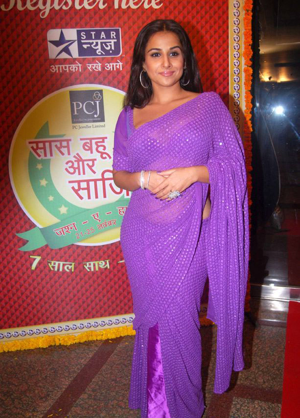 Vidya Balan in Transparent Saree at Star Plus Saas Bahu Saasish bash - Vidya Balan in Pink Purple Saree  at Star Plus Saas Bahu Saasish bash