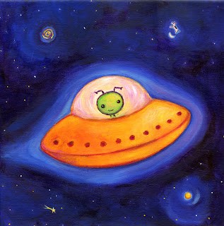 Painting of cute alien