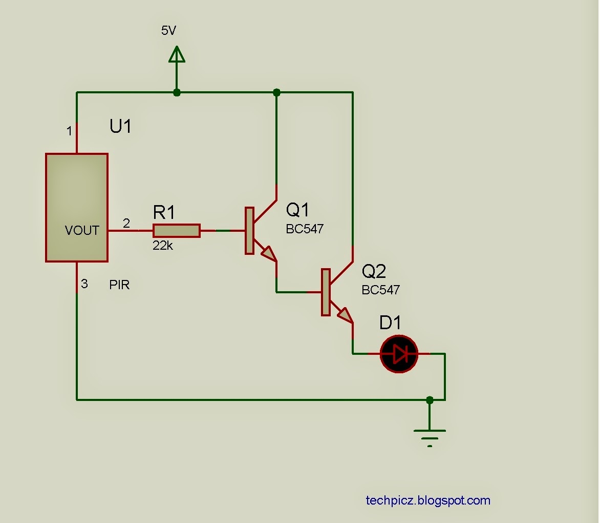 Techpicz Npn Transistor Darlington Configuration Here We Using Pir Sensor And Bc547 Normaly The Output Is Approximately 17v When Any Object Presence Of