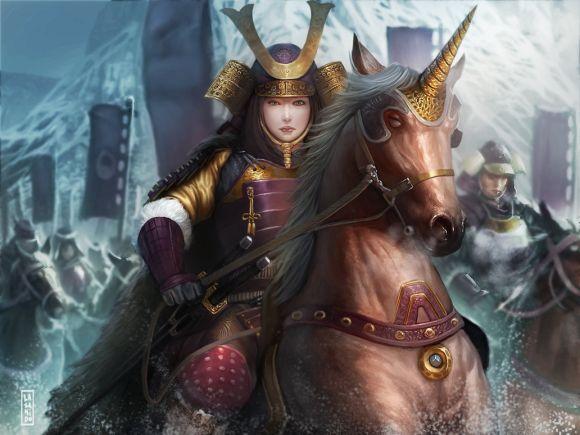Lius Lasahido deviantart ilustrações fantasia arte conceitual Cavaleira montando unicórnio