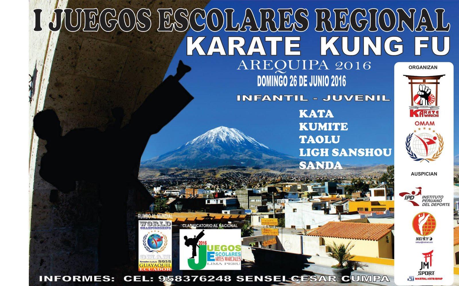 I JUEGOS ESCOLARES REGIONAL Karate - KungFu Arequipa-Perù