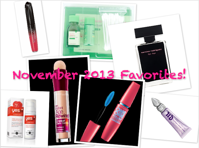 [Favorites] November 2013 ♥, urban decay primer potion, maybelline one by one mascara, yes to tomatoes daily moisturizer, maybelline instant age rewind dark circle eraser, eutde house ac clinic trial kit, rimmel show off lip lacquers, narciso rodriguez her fragrance,