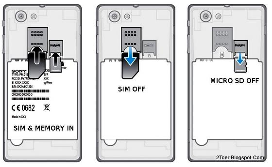 Insert Remove SIM Card MicroSD External Memory Card Sony Xperia J ST26