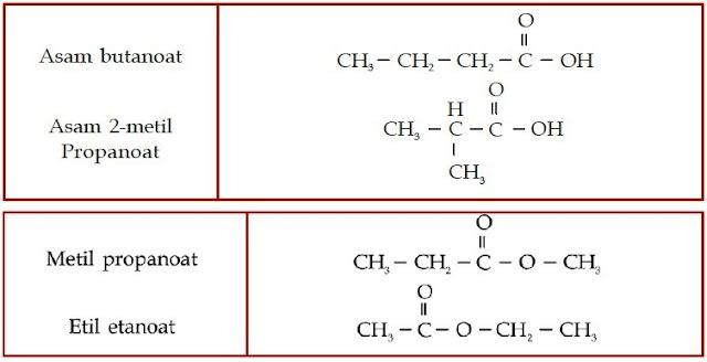 Asam butanoat Asam 2-metil-Propanoat metil etil