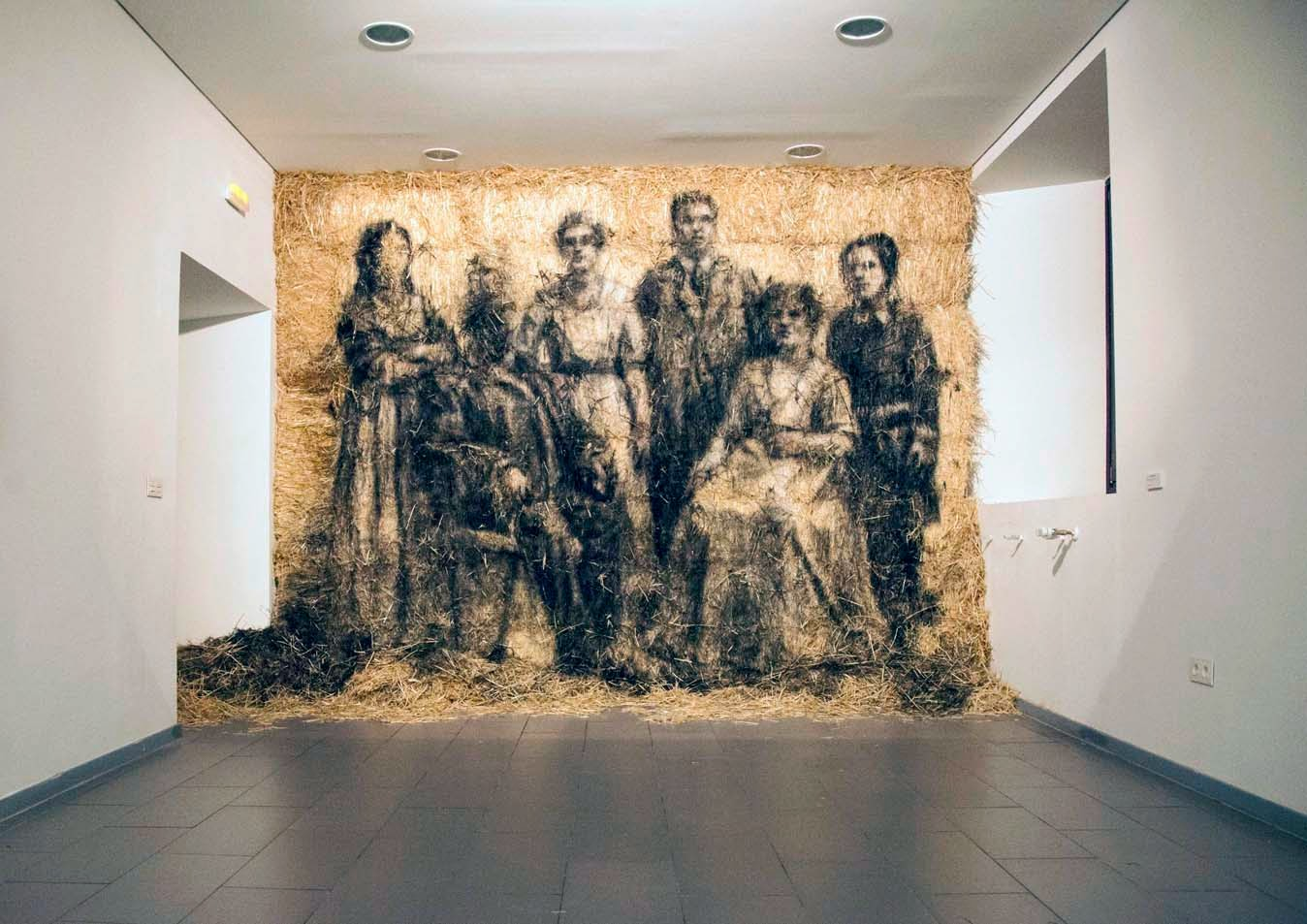 New Indoor Installation On Window and Hay Stacks by Spanish Artist Borondo in Madrid, Spain. 1