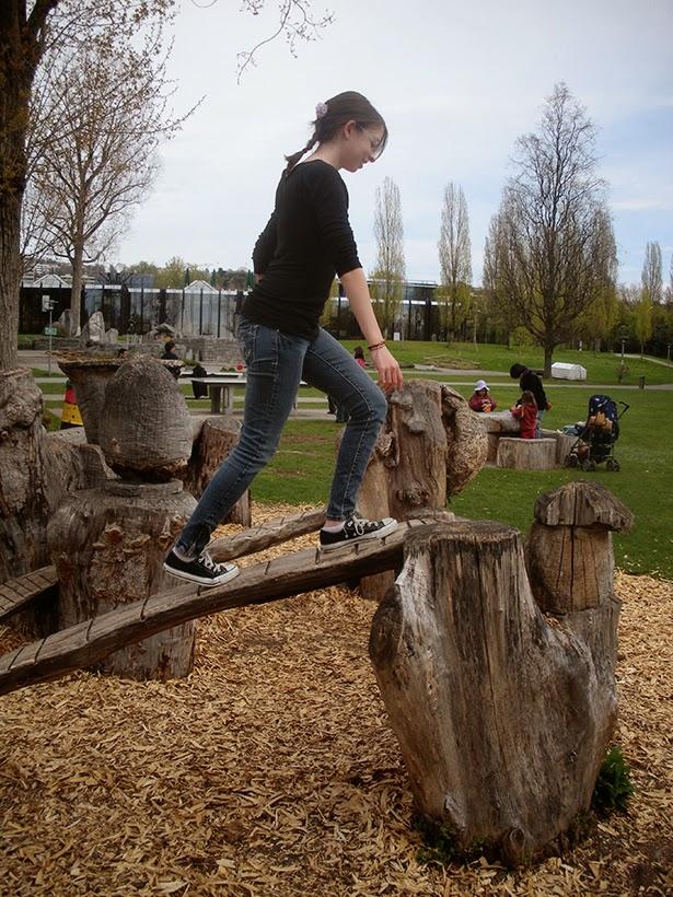 Frolicking in a playground in Lausanne, Switzerland