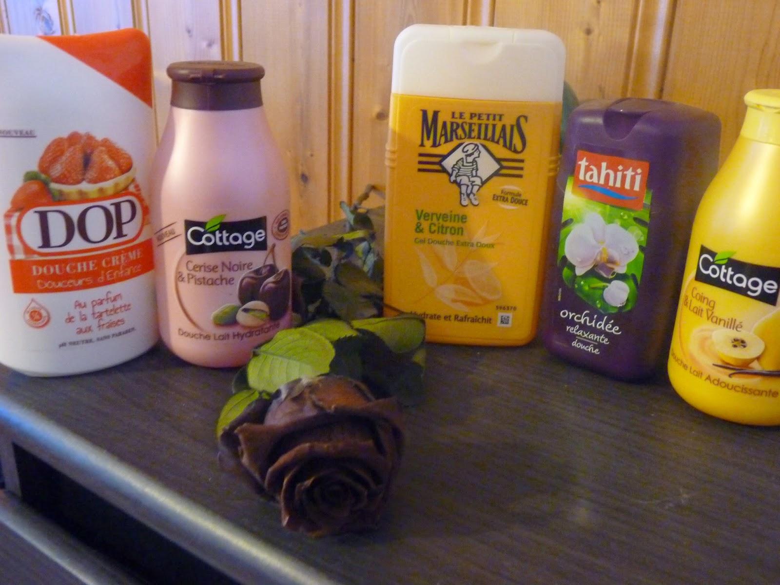 gel douche, DOP, douche crème, tartelette fraise, cottage, cerise noire pistache, le petit marseillais, verveine citron, tahiti, orchidée, cottage, lait vanillé coing,