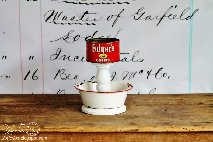 Enamelware Bowl and Coffee Tin Tiered Stand via Knick of Time