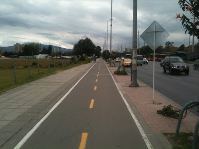 A recently constructed cycle path alongside Autopista Norte in Bogotá DC, Colombia.