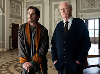 The Dark Knight Rises, Directed by Christopher Nolan, Christain Bale as Bruce Wayne and Michael Caine as his butler Alfred