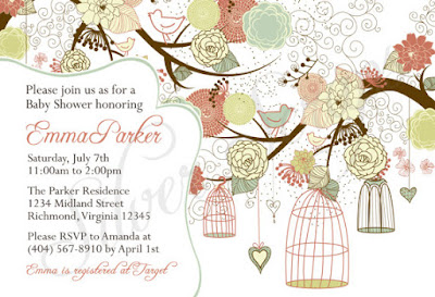 Birdcages, Birds, Flowering Tree - Custom Digital Bridal, Baby Shower, or Bridesmaids Luncheon Invitation -Girl, Boy, Pink, Teal, Green