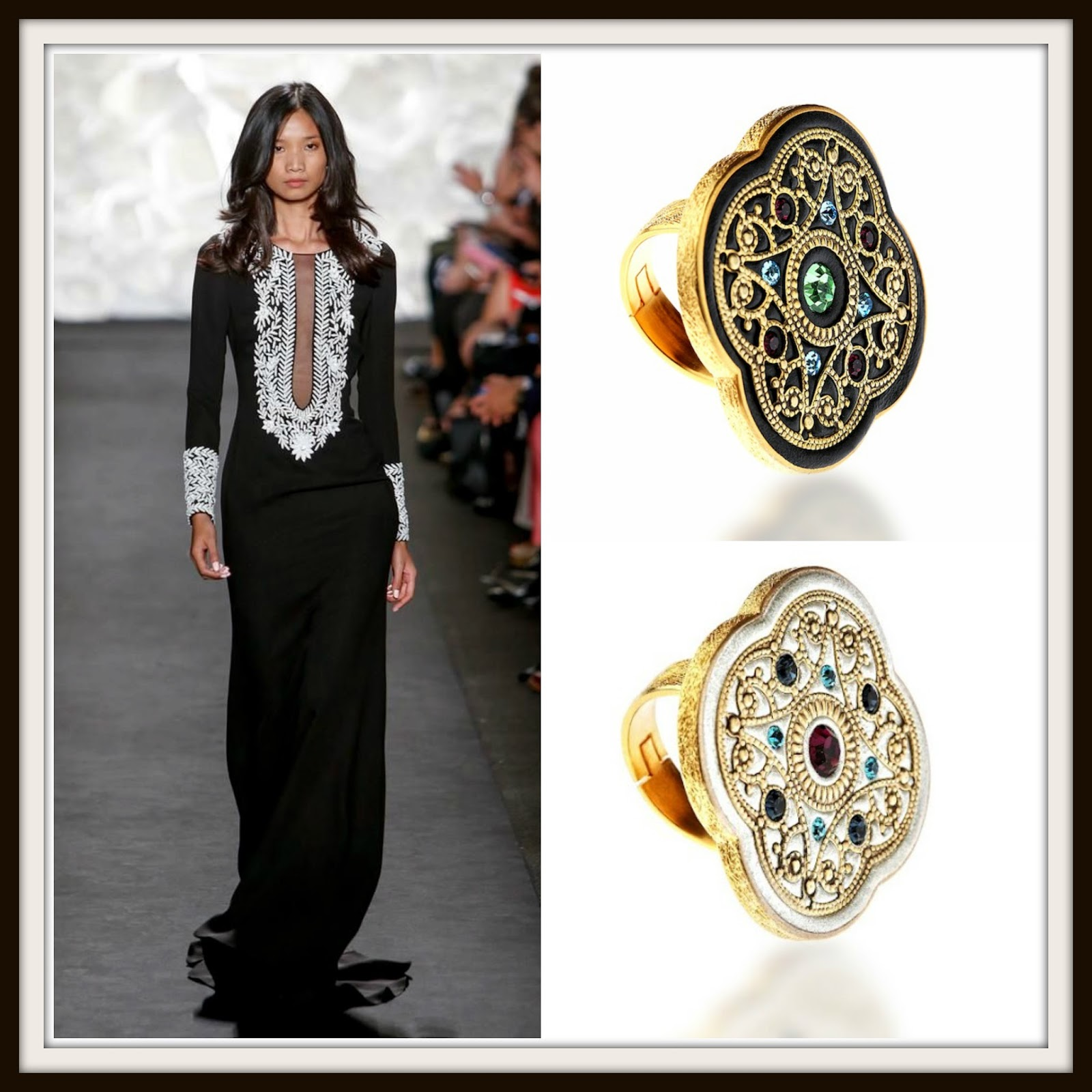 LFW2015, NYFW2015, black, white, monochrome, black jewelry, white jewelry, statement rings