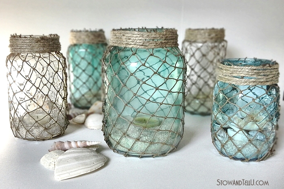 http://stowandtellu.com/decorative-fisherman-netting-wrapped-jars/