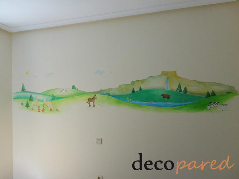 Decopared mural pintado paisaje para cuarto de beb - Murales para ninas ...