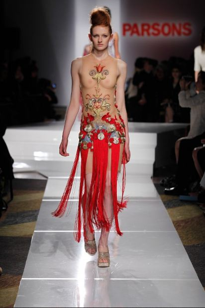 Alex Perez Castells women's wear for Parsons Student Grad Show, Parsons Student Fashion Show,  nude sheer dress with embroidered details and red tassle fringe, Statement Dress, Red fringe dress