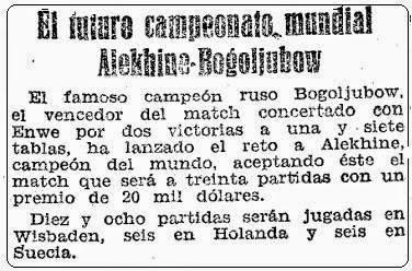Recorte de Mundo Deportivo sobre el Campeonato del Mundo de Ajedrez 1929 entre Alekhine y Bogoljubow