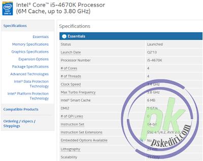 seri Intel Core i5-4670K 3.4Ghz - Cache 6MB Socket LGA 1150 - Haswell Serie