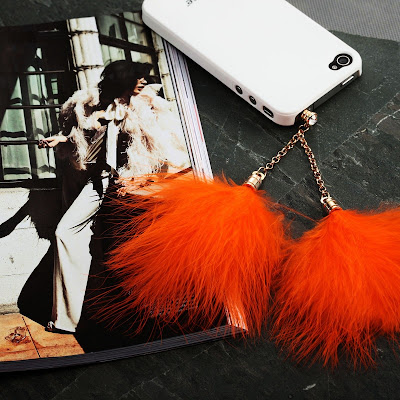 Feather iphone dust charm warm the cool fall :  swarovski earphone iphone charm35mm