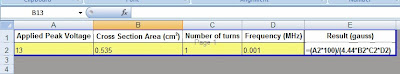 screen shot of an excel document with the formula needed to calculate Gauss