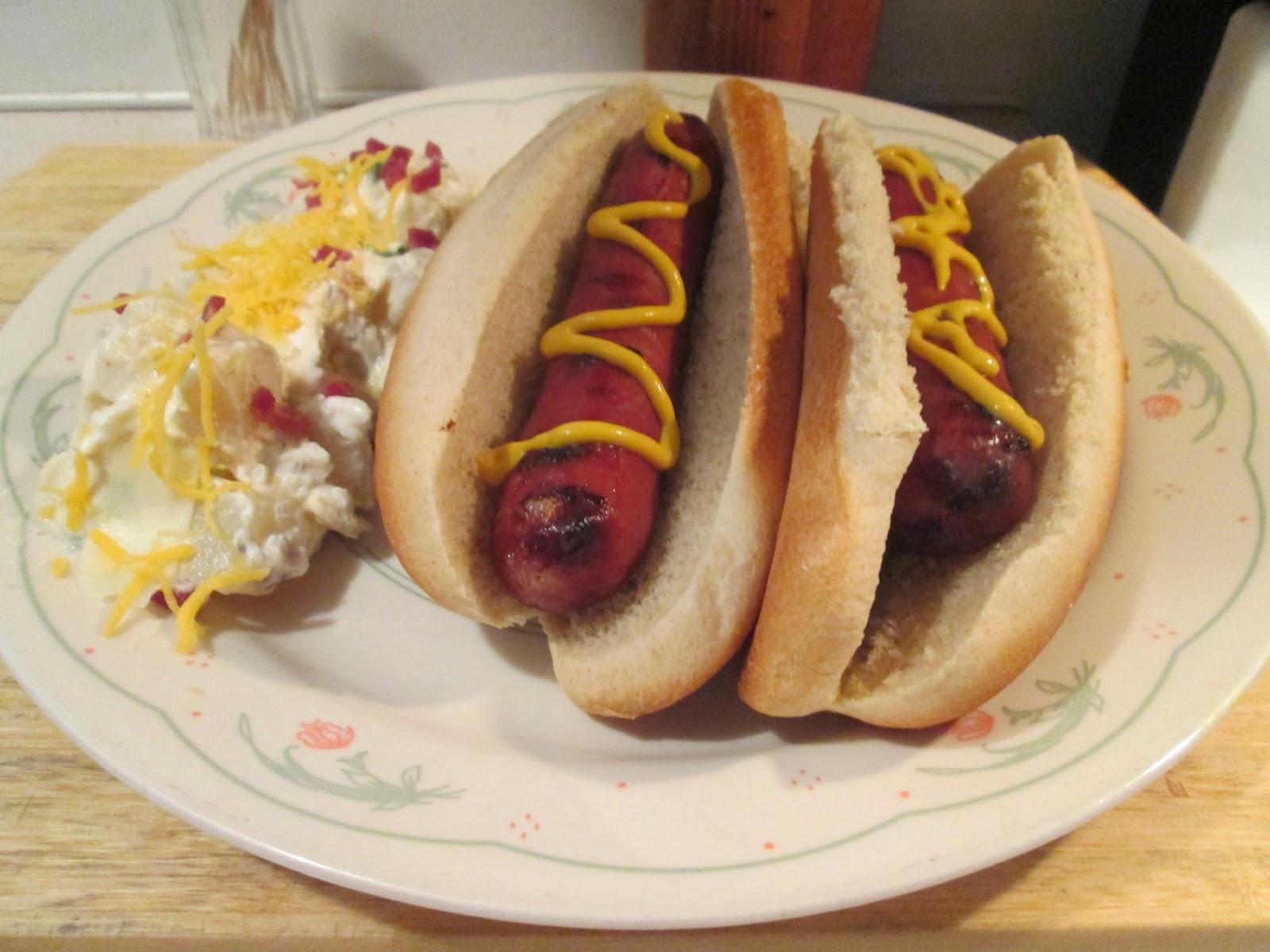 ... jalapeño jack turkey franks w/ cheddar and bacon potato salad