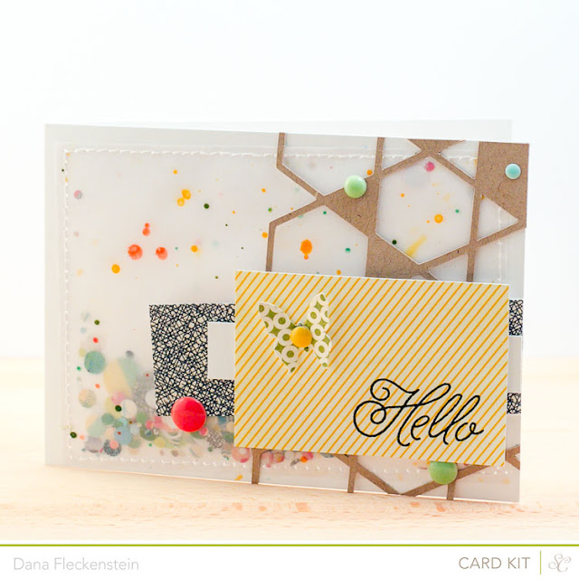 Hello Confetti Card using the Studio Calico Front Row Kit by pixnglue