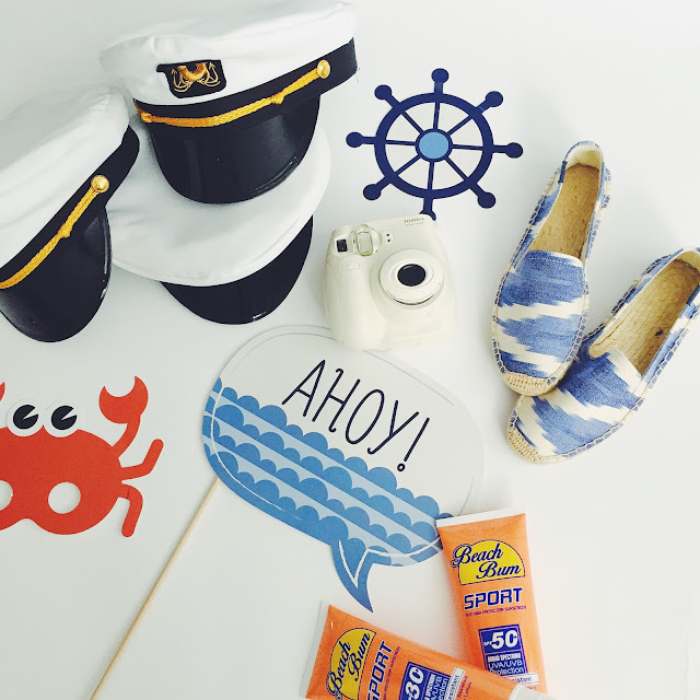 nautical party, what to bring on a cruise, sunscreen flasks